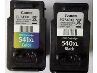 Canon CL-541XL [Coloured] and PG-540XL [Black] EMPTY Ink Cartridges.Suitable for refilling.