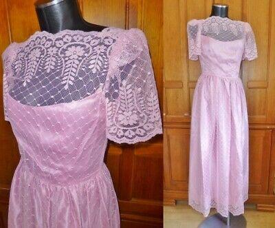 80s Dresses | Casual to Party Dresses VTG 80s Pastel Pink Sheer Floral Lace Boho Romantic Prairie Wedding Maxi DRESS $47.60 AT vintagedancer.com