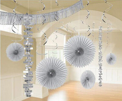 SILVER DELUXE ROOM DECORATING KIT (18pc) ~ Wedding Birthday Party Supplies -