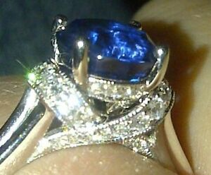 Blue sapphire engagement ring w/ diamonds & matching wedd'g band