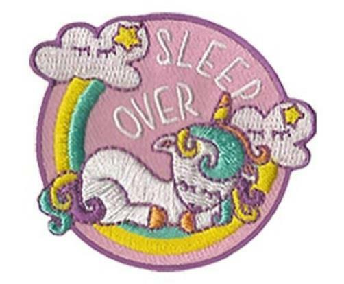Girl SLEEPOVER Pink Unicorn Fun Patches Crests Badges SCOUT GUIDE sleep over