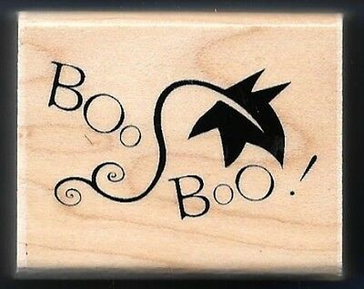 BOO BOO! Maple Leaf Halloween Scary Ghost words NEW JRL Design Co RUBBER STAMP