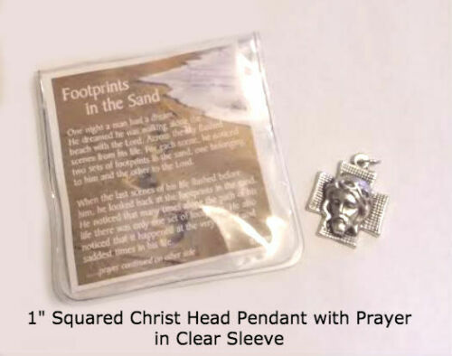 Footprints in the Sand with Christ Head Charm on Prayer Card