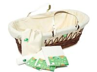 Moses Basket, Little Green Sheep, Leather handles, RRP £80. On sale for £25