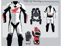 Honda 1 or 2 pc Motorbike Leather Racing Suit with matching gloves!