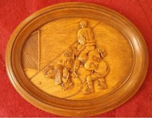 """Hockey Vintage WOOD CARVING """" HE SCORES """" BY KIM MURRAY"""