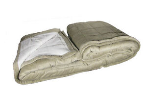 Queen Quilted Faux Sherpa Plush Pile Mink Suede Blanket Very Soft & Warm, Tanq