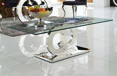 Diseñador Mesita Baja Cc Acero Inox. Templado Vidrio Mesa de Salón 130x70x45