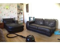 Black leather corner sofa FREE TO COLLECTOR