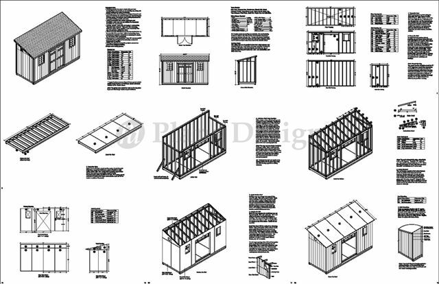 Storage shed plans 6 39 x 16 39 deluxe lean to slant for Free shed design software with materials list