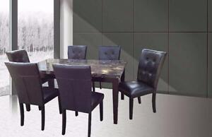 7 PC FAUX MARBLE DINETTE SET 749