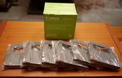 Lot 6 New Sealed Canon Ap01 Ap100 Black Electronic Typewriter Ribbon Cartidges