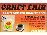 Saturday 6th August 2016 - TWICKENHAM CRAFT FAIRS - St Marys Church Hall Twickenham - Handmade items