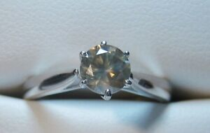 Natural Golden/Brown 0.70 CT Solitaire Diamond Ring