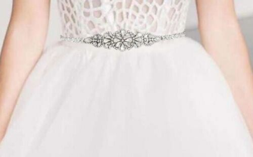 Crystal bridal belt on white sash