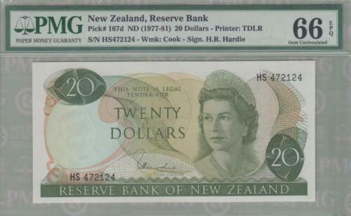 PMG 66 New Zealand 1977-1981 Paper Banknote 20 Dollars EPQ