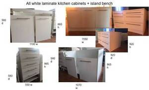 kitchen cabinets + island bench - white laminate Chatswood Willoughby Area Preview