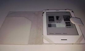 Kobo - touchscreen. White with quilted back and white leather cover