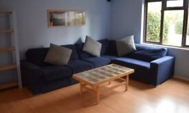 Blue l shaped corner sofa 6-7 seater