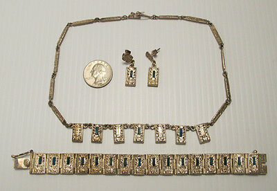 Vintage Aztec Design Sterling Silver Necklace, Bracelet & Earring Set