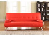 Stunning Faux Leather Italian Designer Style Sofa Bed with Chrome Legs: Red Colour