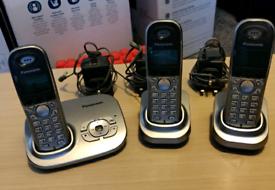 Panasonic Cordless Phone + Answering Machine + 2 ext telephone Handset