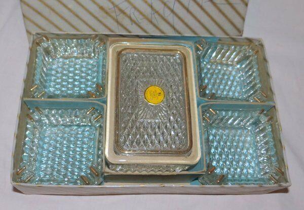 Original Jeannette Glass Cigarette Box Ashtray Set w Sticker 22K Hollywood