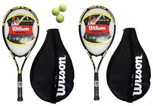2-x-Wilson-Tour-Tennis-Rackets-Covers-With-Strap-3-Tennis-Balls-RRP-110