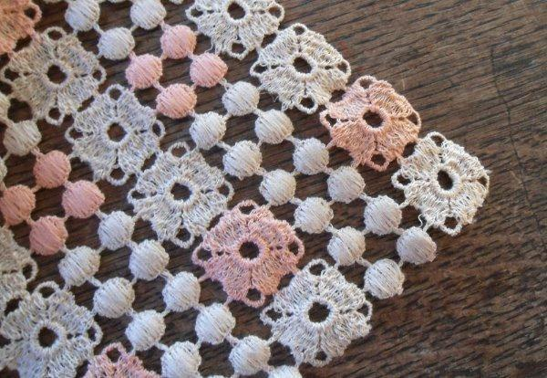 Vintage Schiffli Lace Table Runner Pink Peach Ecru Dresser Scarf 37""