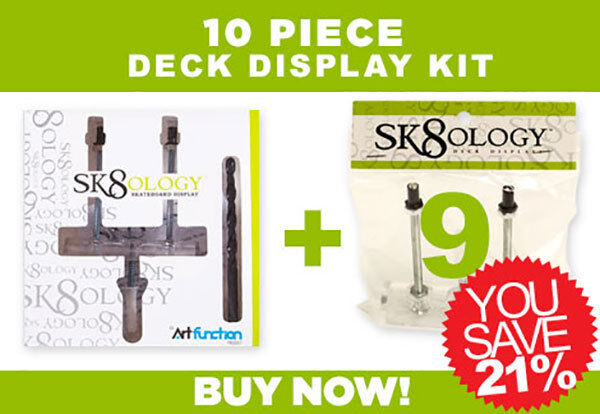 SK8OLOGY SKATEBOARD DECK DISPLAY 10 Pc Kit Floating Mount FREE USA PRIORITY MAIL