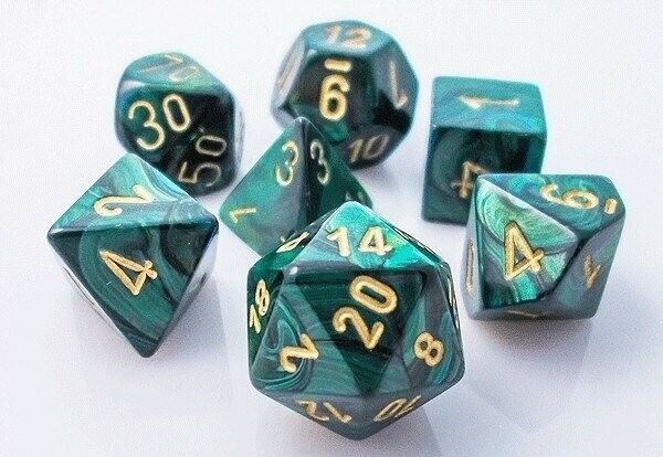 CHX27415 Chessex Manufacturing Scarab: Poly Jade/Gold  Dunge