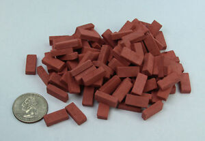 Pack of 100 Dollhouse Miniature/Fairy Garden Common/Rectangular Bricks #AAM0210