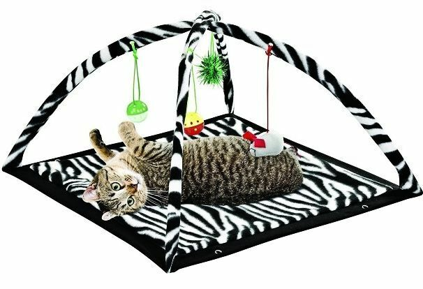 Zebra Print Cat Play Tent with Dangle Toys Pet Interactive K