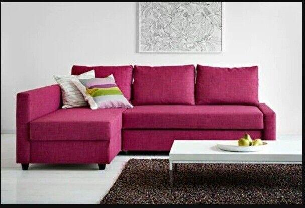 Pink Corner Sofa Bed With Storage