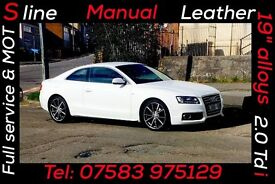 "Audi A5 2.0tdi Sline Coupe. 2010 model, ibis white, full leather, manual, 19"" Alloys"""