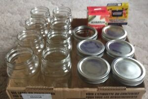 Jars: 8-650ml Mason Jars,6 wide mouth 500 ml,8 Std.Lids,5 Rings.