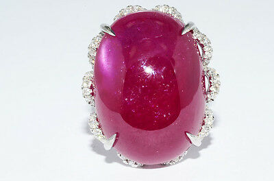 $14,800 48.40Ct Natural African Cabochon Cut Ruby & Diamond Ring 14K White Gold