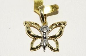 .01CT NATURAL ROUND CUT DIAMOND BUTTERFLY PENDANT GORGEOUS!