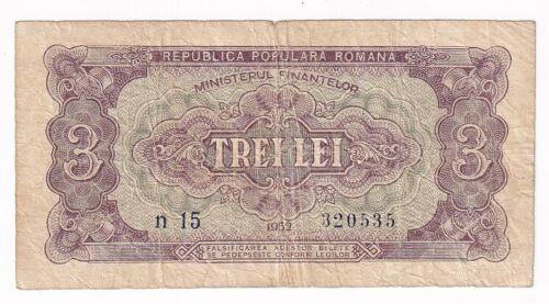 Romania 3 lei 1952 P# 82b F (e331)