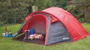 New Regatta Kivu 4 Man Dome Tent Pepper/Seal Grey With Porch & Regatta 4 Man Tent | eBay