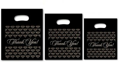 500pc Thank You Bags Black Thank You Merchandise Bags Plastic Retail Handle Bags