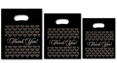 300pc Thank You Bags Thank You Plastic Bags Retail Black Jewelry Bags Mixed Size