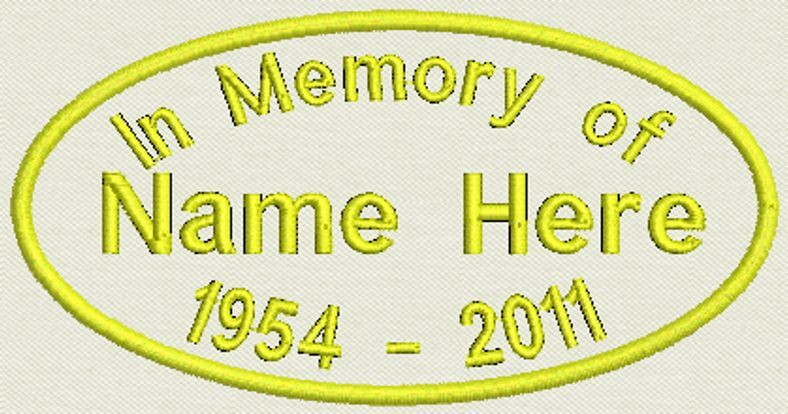 """6 Custom Oval In Memory Patch, Tag, Biker Patch, badge 4"""" x 2"""" Iron On / Sew On"""