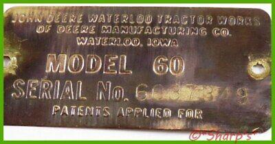 John Deere 60 Serial Number Tag 1955 6037349 Brass Tag Missouri Tractor