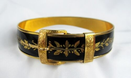 Vintage Hayward Black Enamel Etched 120 12K GF Gold Buckle Bangle Bracelet