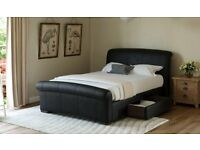 Black Santino Faux Leather Bed Frame - Double - Immaculate Cond (RRP £599)