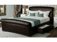 King-size: dark brown leather bed base
