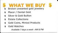 I buy gold jewelry, coins, bullion and more!