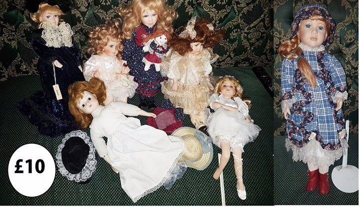 job lot of porcelain dolls