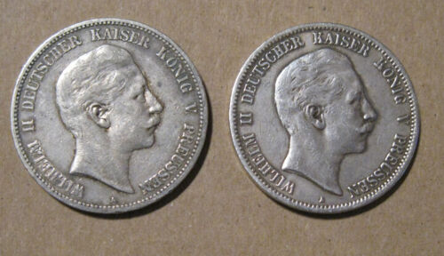Prussia (Germany) - (2) Large Silver 5 Marks (1904 & 1907)